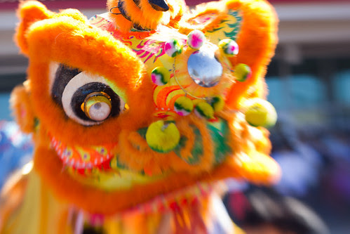 Close up of an orange dragon puppet, Chinese new year celebrations, Austin, Texas