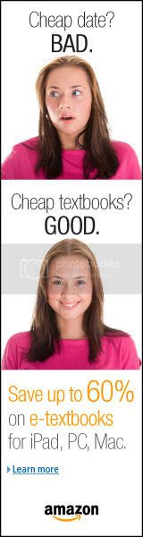An ad for big discounts on e-textbooks