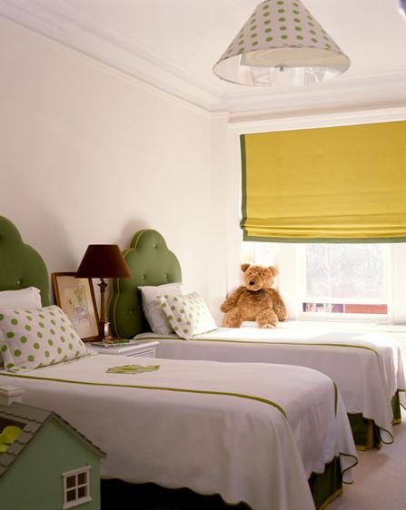 Green Tufted Headboard - Traditional - girl's room - Amanda Nisbet ...