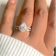 925 Silver Ladies 2 piece Wedding Engagement Teardrop/Pear