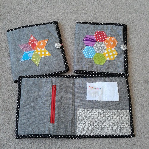 And the inside, including zip pouch, pockets and needle book.