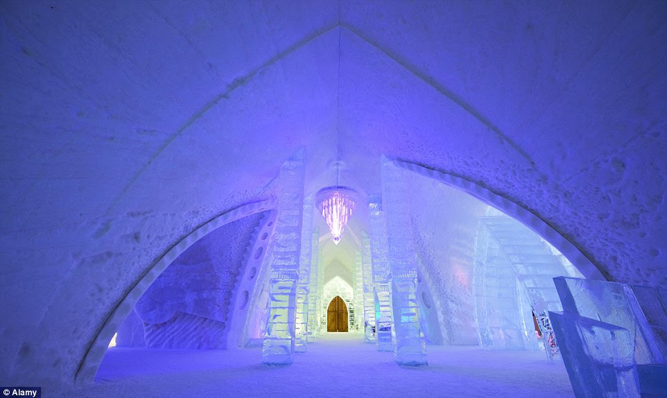 The Hotel de Glace on the outskirts of Quebec City in Canada provided the inspiration for Elsa's Ice Palace in Disney's Frozen