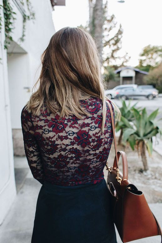 Le Fashion Blog Ganni Lace Bodysuit Navy Suede Mini Skirt Leather Bag Via Take Aim