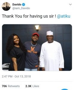 Davido And Chioma Visit PDP Presidential Candidate, Atiku Abubakar Amist breakup rumours (Photo)
