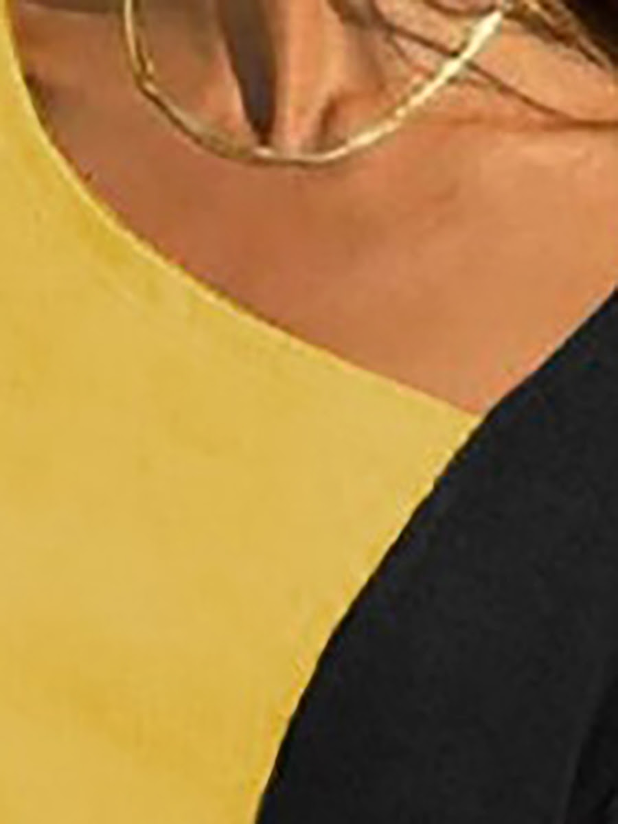 Asymmetric neck patchwork contrast stitching sweatshirts