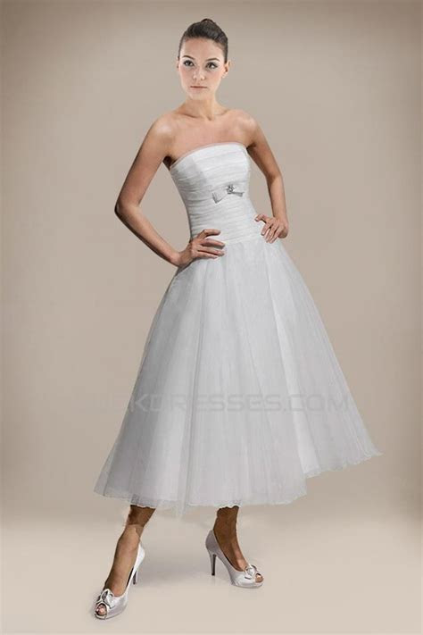 A line Strapless Tea Length Bridal Wedding Dresses WD010228