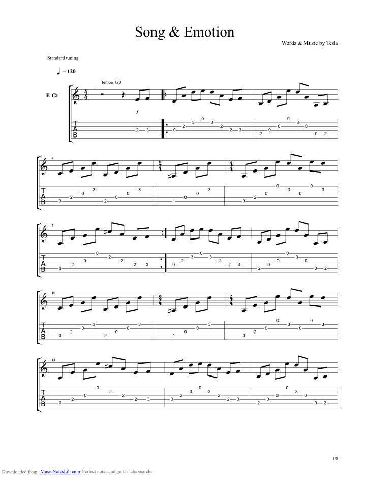 Song Emotion Guitar Pro Tab By Tesla At Musicnoteslibcom