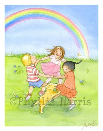 Children's Art Print for Nursery or children's room decor, Orange, Green, Blue, Green
