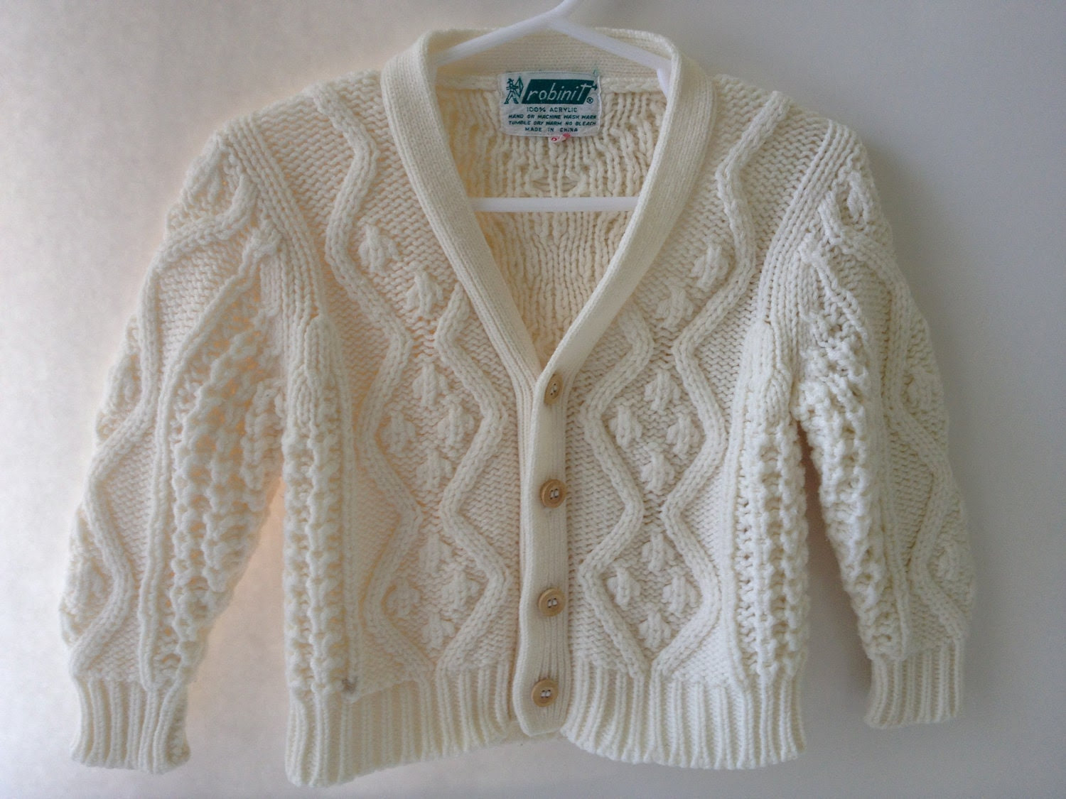 Vintage Cable Knit Cardigan Sweater: 2T