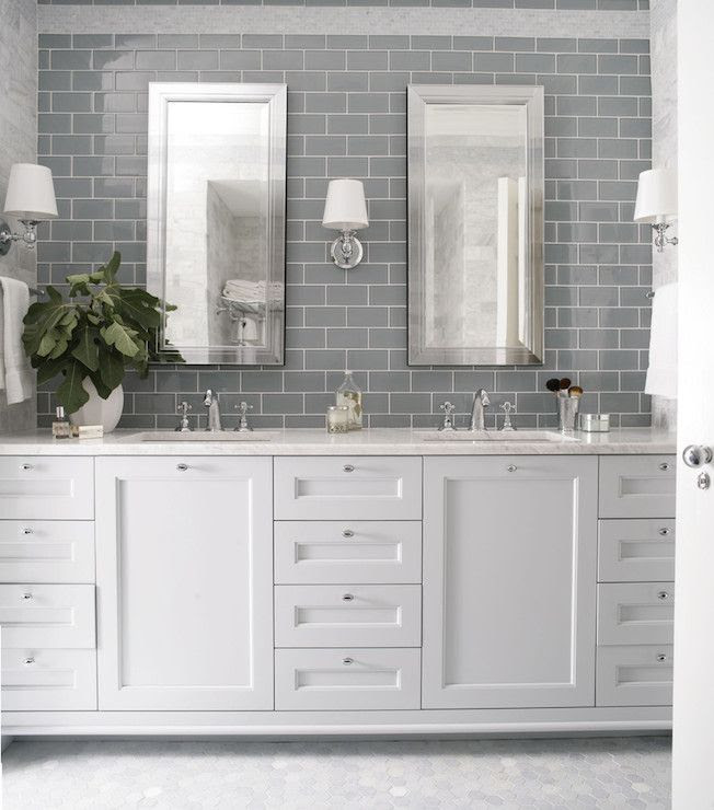 Heather Garrett Design - bathrooms - gray subway tile, gray subway tiled backsplash, mirror framed mirror, beveled mirror, beveled vanity mi...