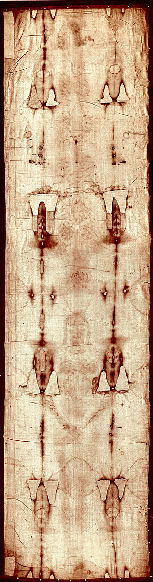 Full-length photograph of the Shroud of Turin ...
