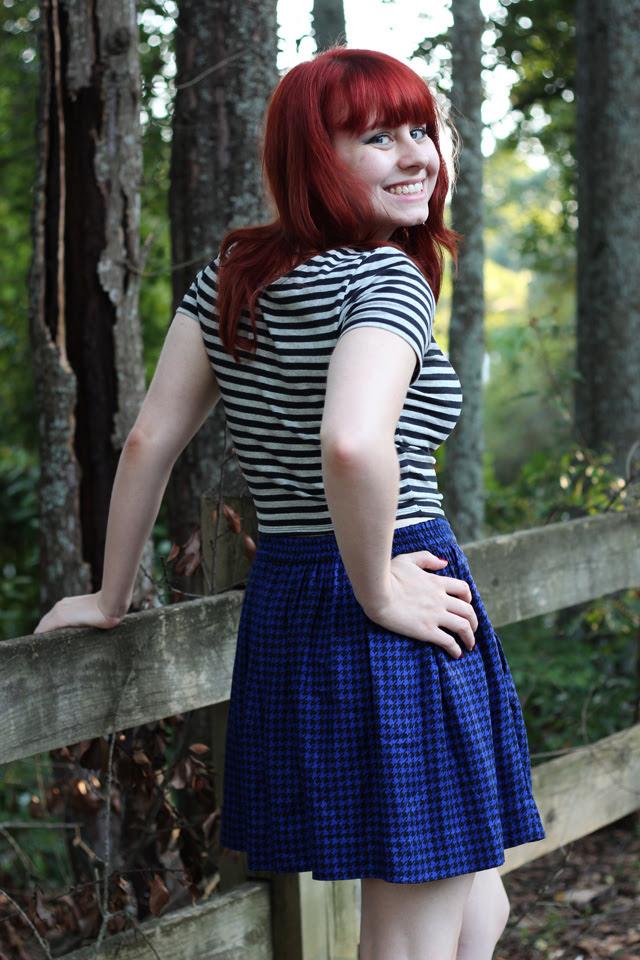 Striped Shirt, Houndstooth Skirt