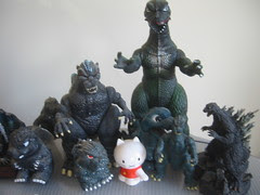 Musti with Godzilla friends!