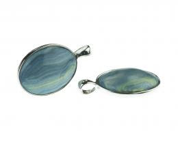1x Shimmering Blue Polymer Clay Pendant 11mm