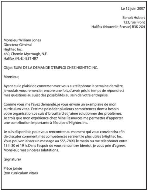 resume format  lettre pr u00e9sentation cv qu u00e9bec