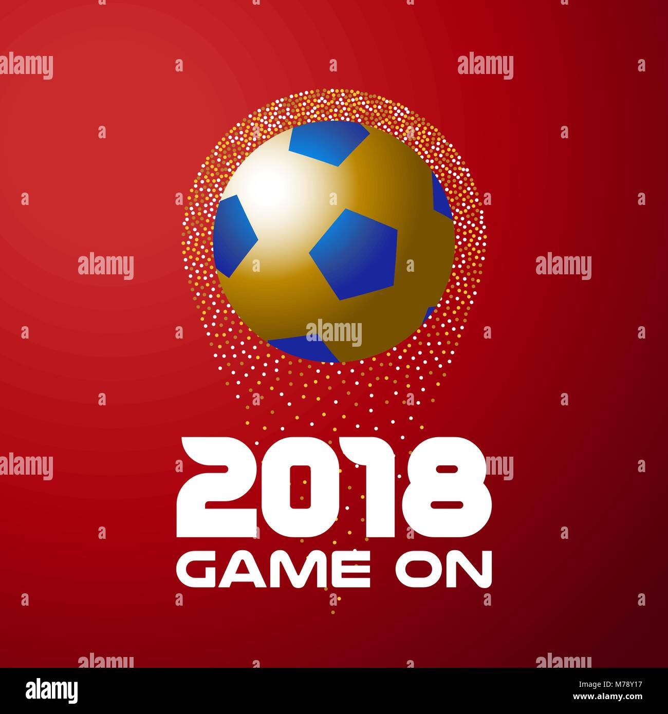 Gold Soccer Ball On Red Color Background With 2018 Typography Quote