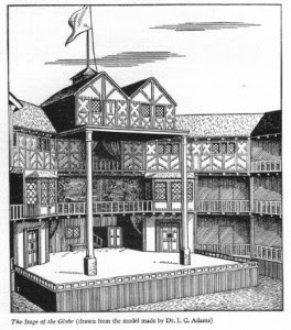 sketch of Globe Theatre, London in Shakespeare's Time