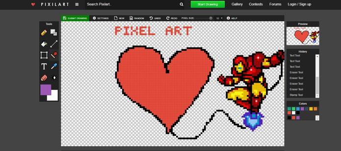 Pixilart permite usar adesivos de personagens e criar seus desenhos em Pixel Art (Foto: Reprodução/Barbara Mannara)