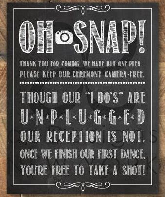 The Unplugged Wedding ~ No Cell Phone Zone!   The