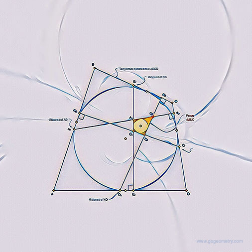 Geometric Art of Problem 1351: Tangential Quadrilaterals, Circles. iPad Pro Apps