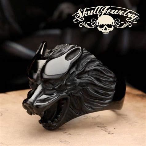 'Born to be Wild' Black Wolf Stainless Steel Ring (653