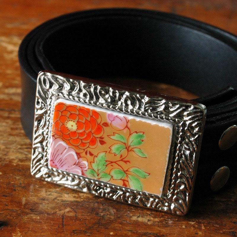 Orange Pink and Green Floral Broken Plate Belt Buckle