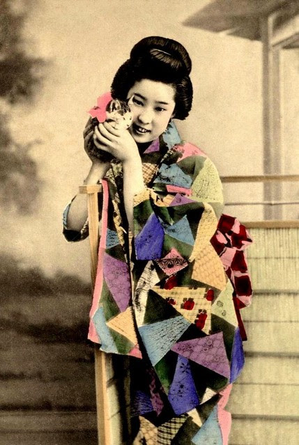 I HAVE A WIDDLE PUDDY TAT -- A Cutie-pie Geisha with her Cutie-pie Kitty in Old Meiji-Era Japan
