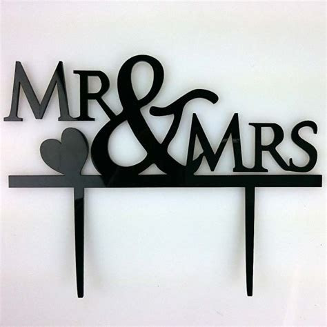 Mr & Mrs Heart Acrylic Wedding Day Cake Topper Silhouette