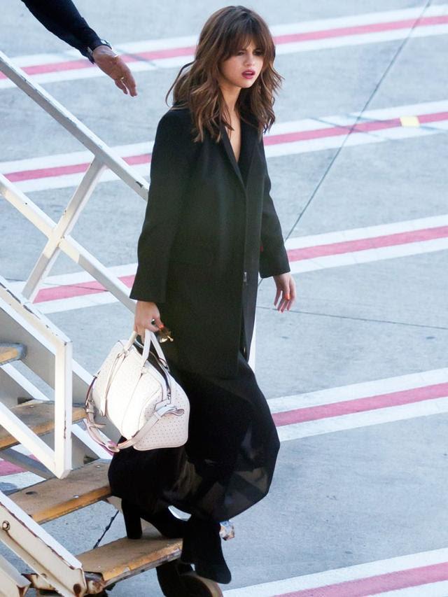 On Selena Gomez: Dear Frances Spirit Boots(£440);Louis Vuitton Sofia Coppola Bag(£2700).