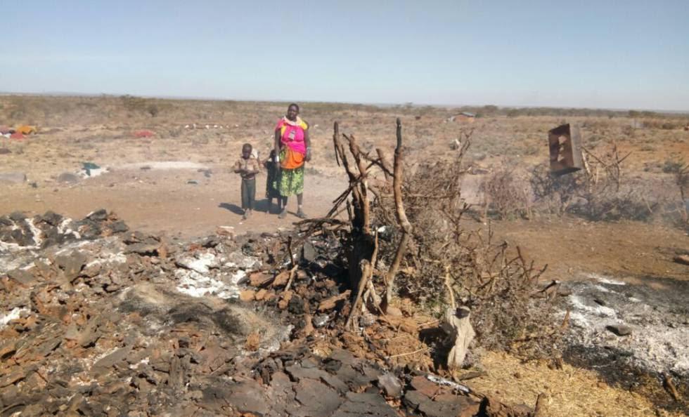 Una comunidad incendiada por el conflicto de Laikipia, en Kenia.
