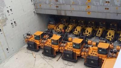 La maquinaria que China envió para las represas de Santa Cruz. Foto Represas Patagonia.