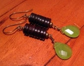 Wood and Green Crystal Earrings