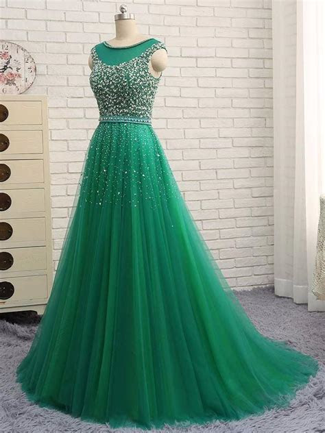 Hunter Green Prom Dresses A line Short Train Tulle Long