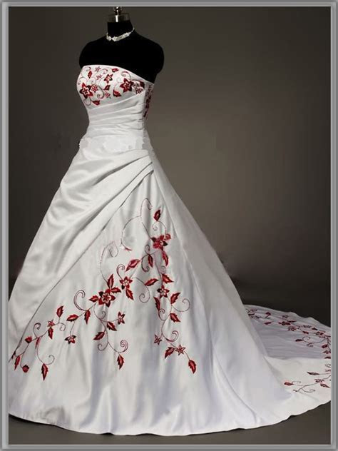Strapless Red and White Wedding Dresses for Sexy and