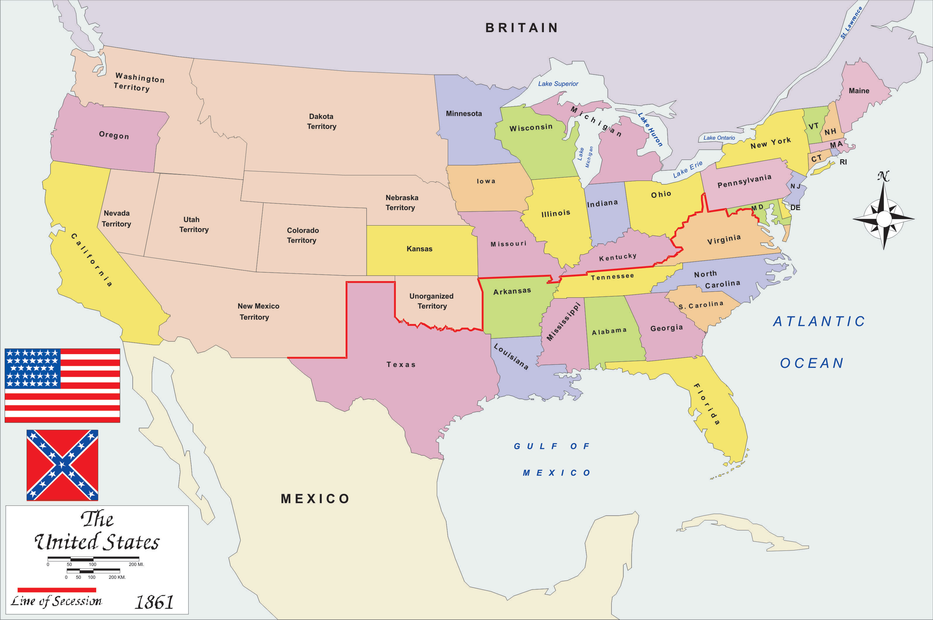 Map Of America In 1861.Map Of Usa 1861 Map North East