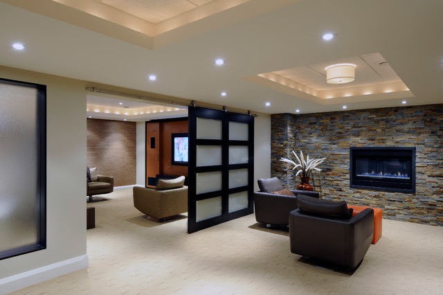 Lounge and Media Room - contemporary - basement - ottawa - by ...