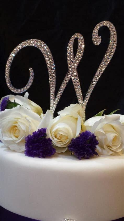 5 Inch Tall Monogram Wedding Cake Topper   Elegant