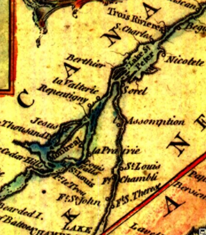 Map of the lower Richelieu River valley and the Saint Lawrence River valley between Montreal and Trois-Rivières