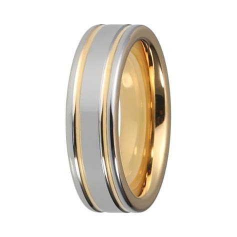 Mens Silver & Yellow Gold Tungsten Wedding Band   Two Tone