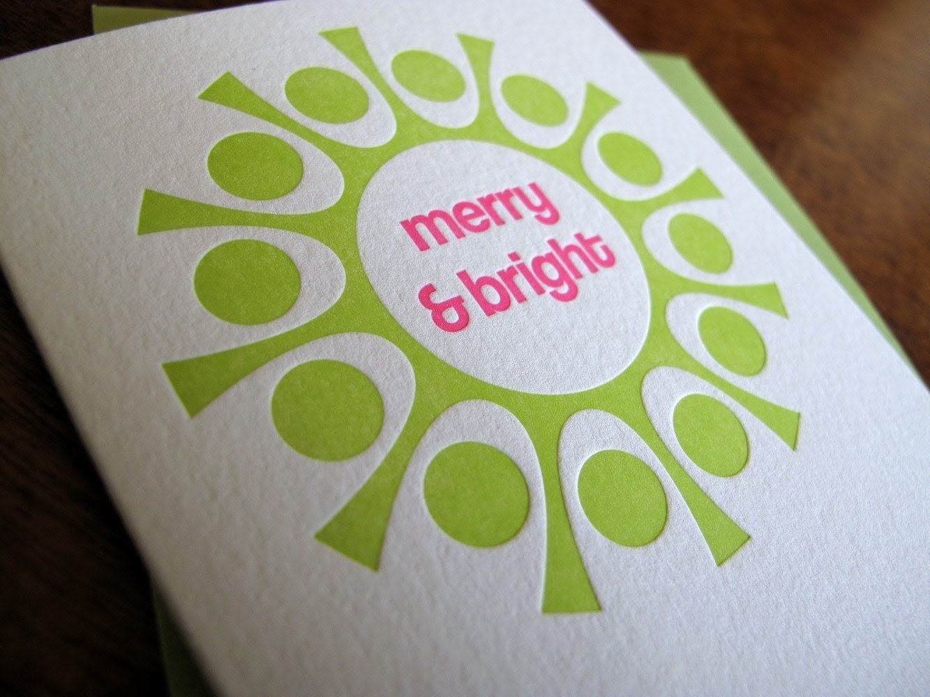 Merry and Bright Letterpress Holiday Card - Set of 6