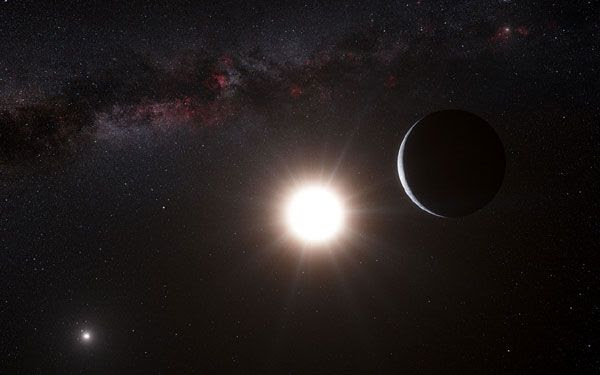 An artist's concept of an exoplanet orbiting the star Alpha Centauri B, a member of the triple star system that is the closest to Earth.