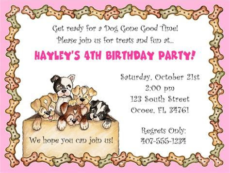 Dog Puppies Birthday Party Invitations Pink   Dog   Kids