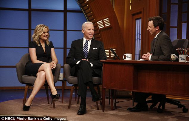Letting him loose: Biden has been allowed to make more public appearances in recent months, including his guest stop on Seth Meyer's inaugural episode of Late Night