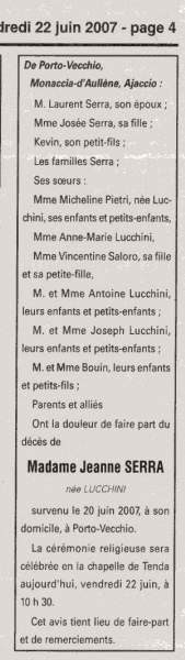 Décès Serra Lucchini Jeanne