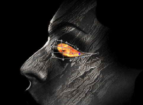 4 warp Design a Unique Wooden Face with Fiery Eye and Tear in Photoshop