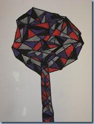Με γραμμές ευθείες, ήρεμες και ανήσυχες φτιάχνουμε σχήματα και όγκους. Φτιάχνουμε ένα δέντρο. Μαρκαδόροι, τέμπερες (3)