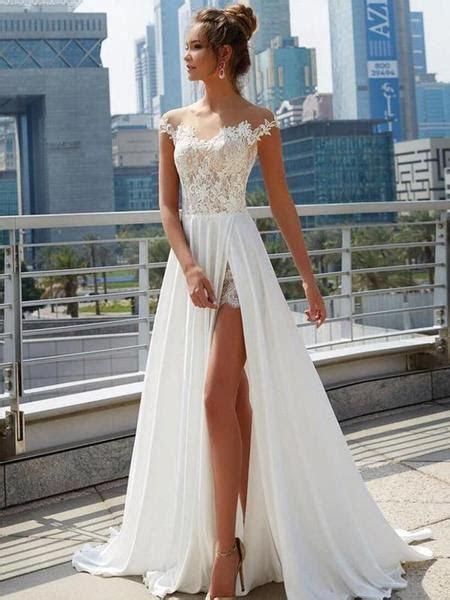 Off Shoulder See Through Cheap Wedding Dresses Online
