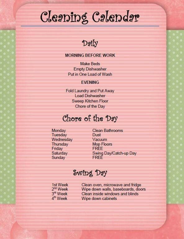 Daily Chores List For Adults