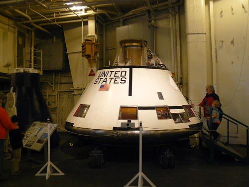 Apollo lunar command module presentation, on the Hornet's hanger deck