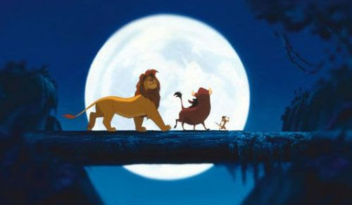 Now grown-up, Simba and his friends Timon and Pumbaa have no worries in THE LION KING.